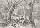 TOWNS: Frosty Weather: Gallop through lane, antique print, 1862